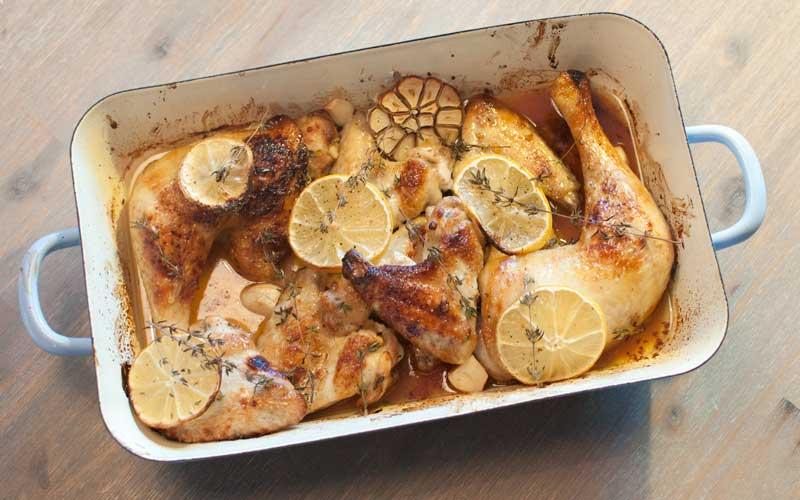 kip uit de oven met citroen en tijm