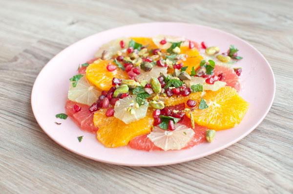 citrussalade met granaatappelpitjes