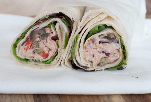 Lunchwraps met tonijnsalade en fricandeau