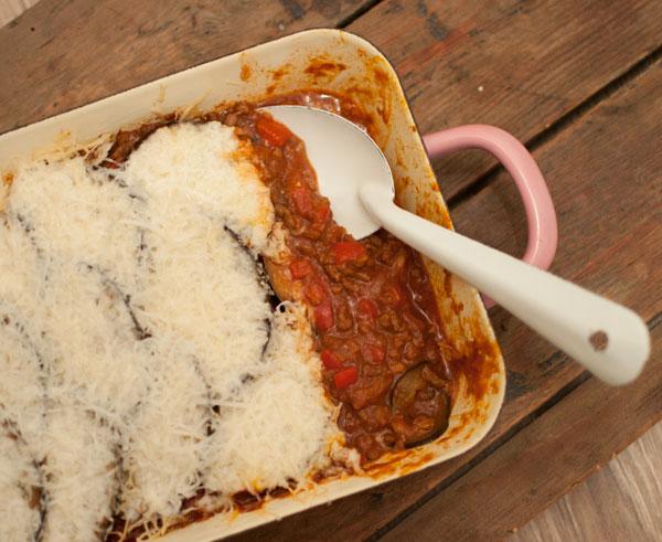 ovenschotel met aubergine en lamsgehakt