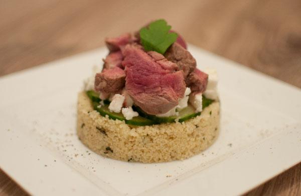 Couscoustaartjes met feta en lamsvlees
