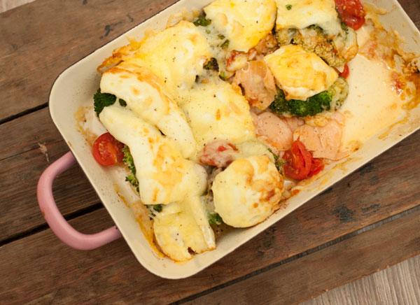 ovenschotel met gerookte zalm brie en broccoli