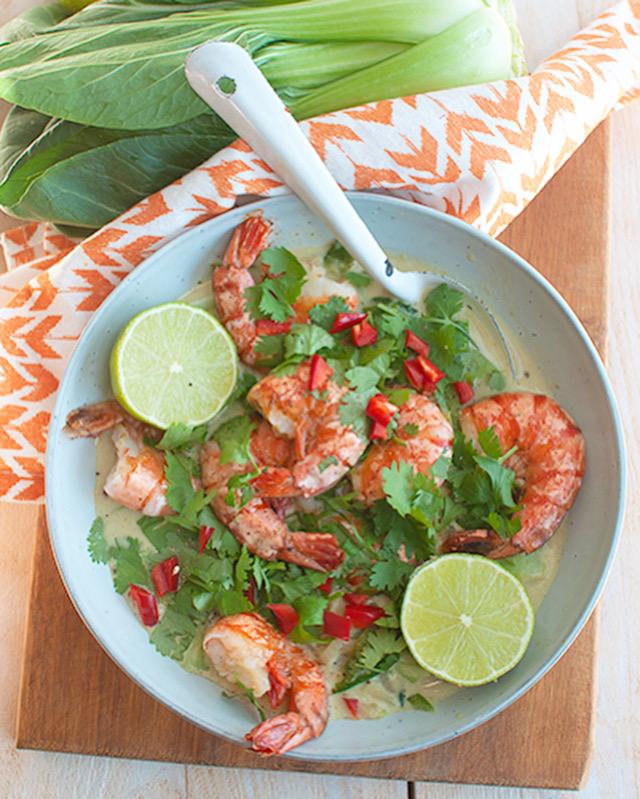 Thaise groene curry met garnalen