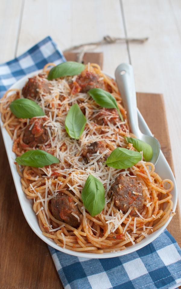 Spaghetti met Italiaanse gehaktballetjes