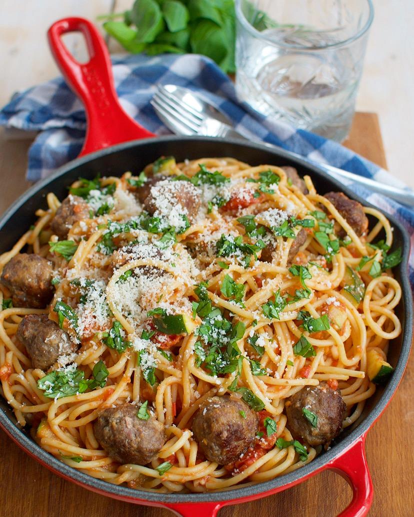 Spaghetti met gehaktballetjes en tomatensaus