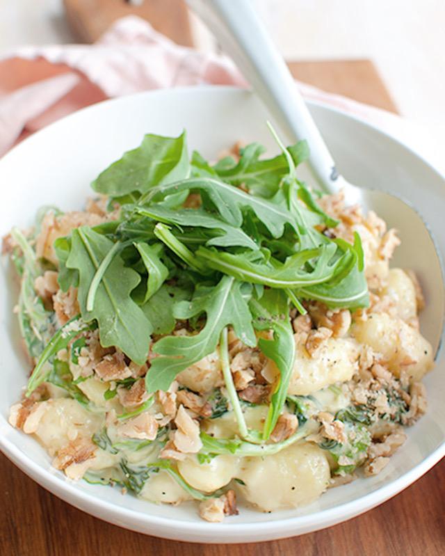 Gnoncchi met gorgonzolasaus en spinazie