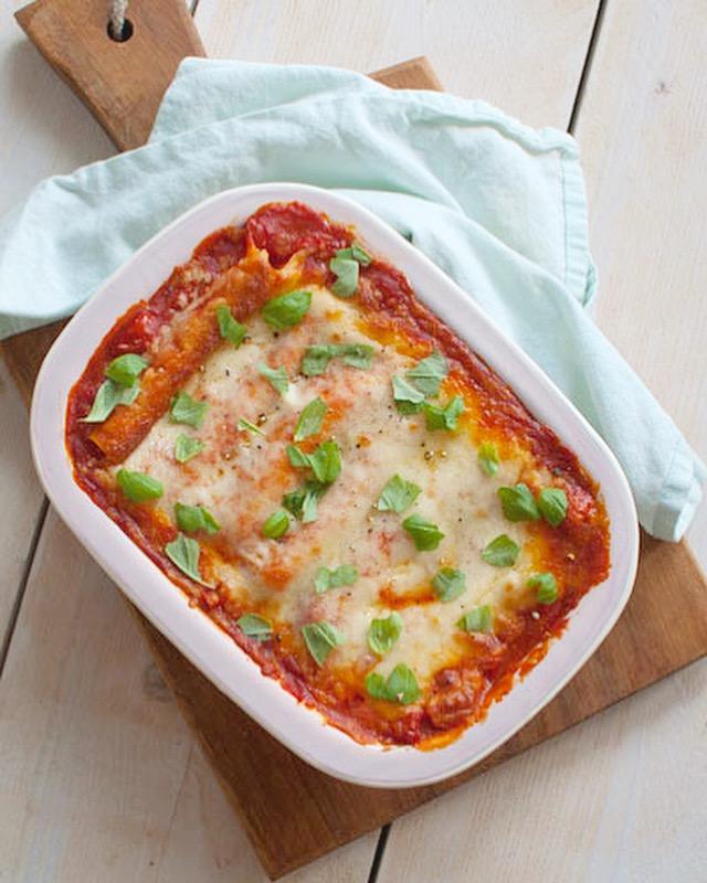 cannelloni met kaas, lente uit en basilicum