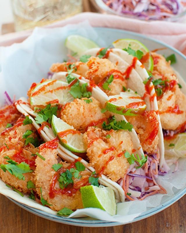 Taco's met krokante garnalen