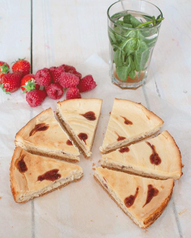 Cheesecake met witte chocola en frambozen