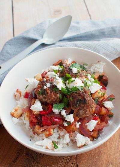 Griekse kofta met geitenkaas en rijst