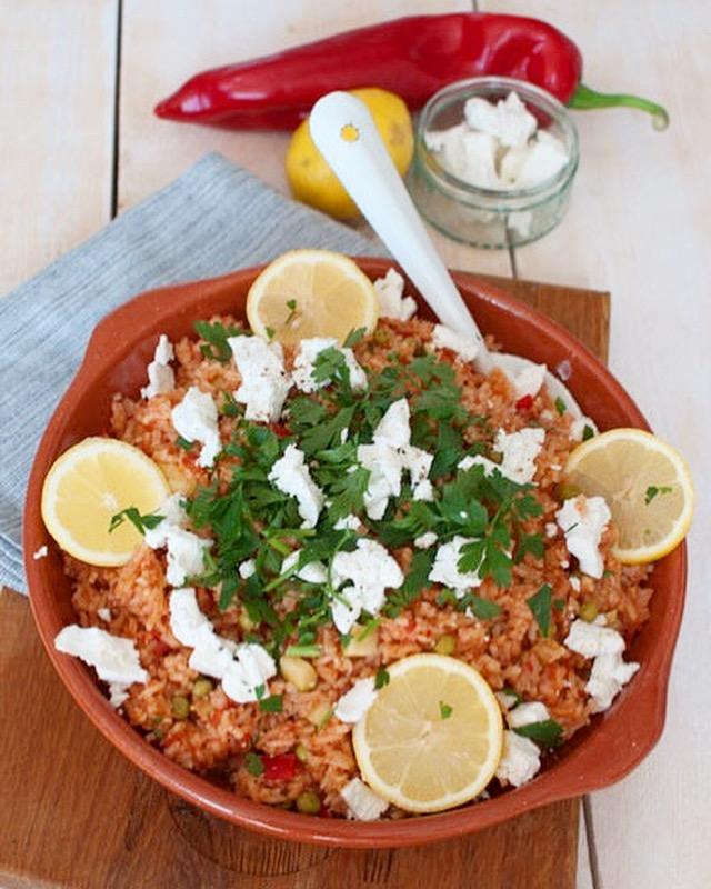 Griekse tomatenrijst met feta