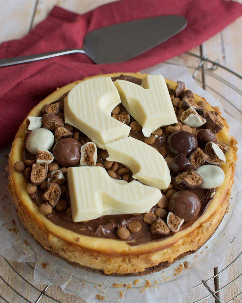 Dubbele chocolade cheesecake met pepernoten