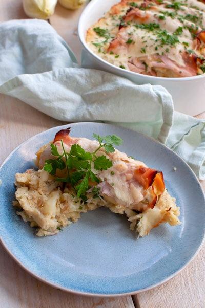 Witlofrolletjes uit de oven met mosterdpuree