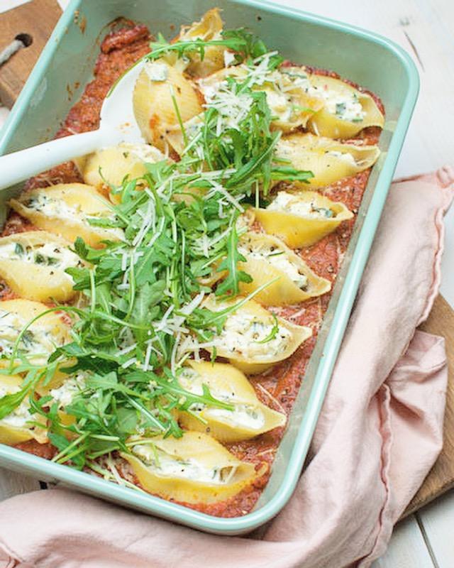 Gevulde pastaschelpen met ricotta en ocurgette