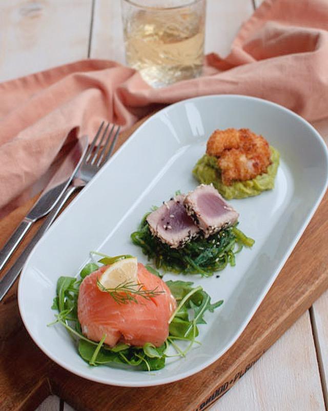 Trio van vis met zalm en tonijn