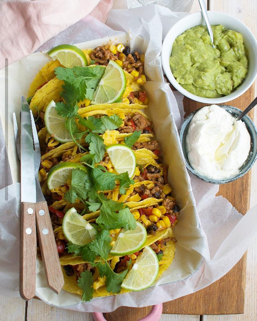 Mexicaansse taco's met gehakt en kaas