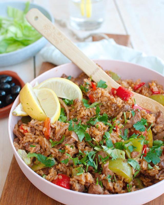 Shoarma rijst met paprika