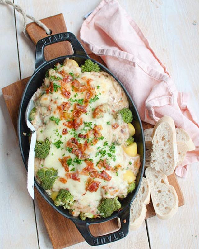Ovenschotel aardappel anders met bacon en ui