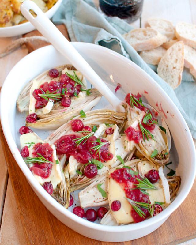 Witlof uit de oven met brie en cranberry