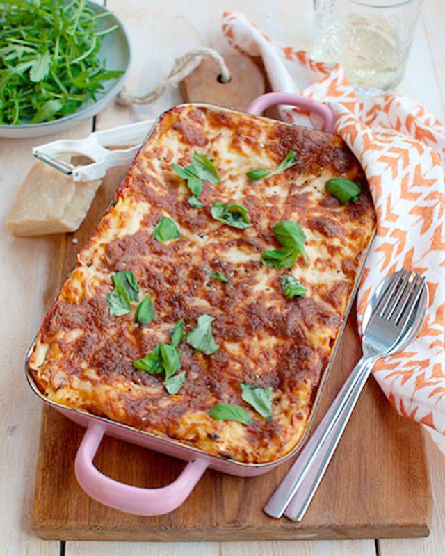 Lasagne met geitenkaas en courgette