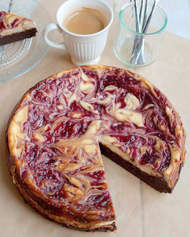 Brownietaart met cheesecaketopping