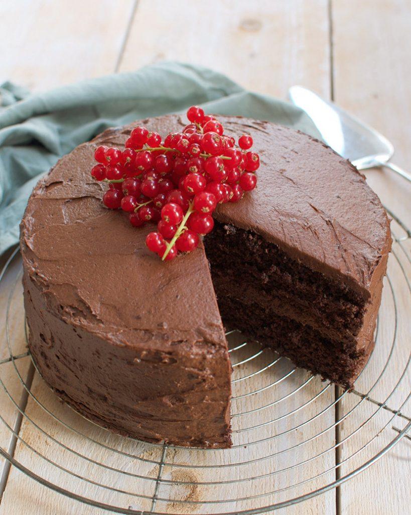 Gruwelijke lekkere dubbele chocoladetaart