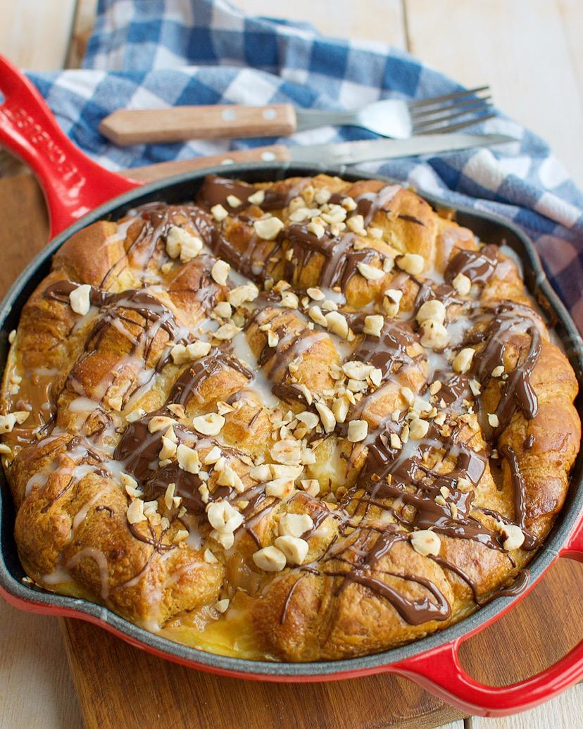 Croissant broodpudding met chocola